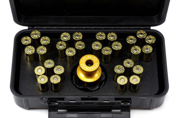 SPEED BEEZ® Smith & Wesson 44 Magnum L Frame (Model 69) 5 Shot Speedloader, Loading Block, Case - Bundle
